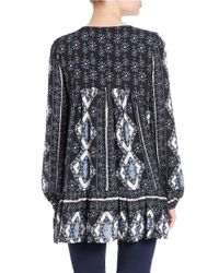 Free People | Blue Patterned Tunic Top | Lyst
