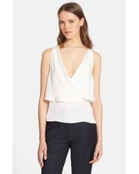 Theory - White 'alizay' Silk Top - Lyst