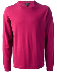 Emporio Armani | Pink Crew Neck Sweater for Men | Lyst