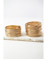 Forever 21 - Metallic Etched And Twisted Bangle Set - Lyst
