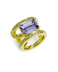 Oscar de la Renta - Purple Octagon Stone And Crystal Ring - Lyst