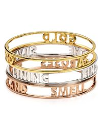 kate spade new york - Metallic Stop and Smell The Roses Words Of Wisdom Bangle - Lyst