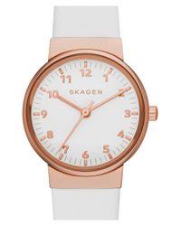 Skagen - Pink 'ancher' Leather Strap Watch - Lyst