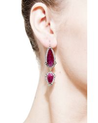 Sylva & Cie | Red One Of A Kind Ruby Dangle Earrings | Lyst
