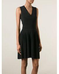 Yigal Azrouël - Black Pleated Knit Dress - Lyst