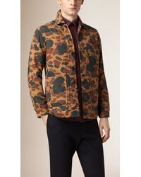 Burberry - Brown Camouflage Print Cotton Jacket for Men - Lyst