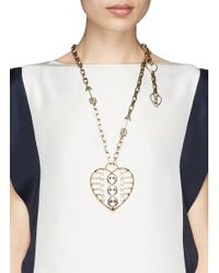 Lanvin - Metallic '125 Charms' Crystal Heart Pendant Necklace - Lyst