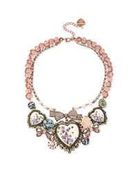Betsey Johnson | Pink Faux Pearl and Heart Frontal Necklace | Lyst
