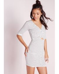 Missguided - Cross Front Cut Out Bodycon Dress White Stripe - Lyst