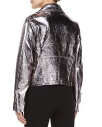 McQ - Pink Metallic-Leather Biker Jacket - Lyst