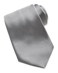 Ermenegildo Zegna - Metallic Textured Check Dot Silk Tie Silver for Men - Lyst