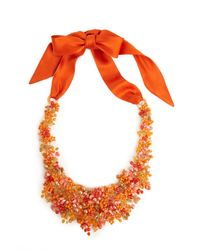 Natori - Orange Josie Beaded Bib Necklace - Cayenne - Lyst