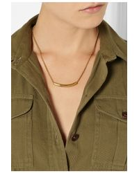 Monica Vinader - Metallic Esencia Hammered Gold-Plated Topaz Necklace - Lyst