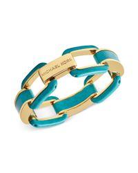 Michael Kors - Metallic Goldtone Turquoise Link Bracelet - Lyst