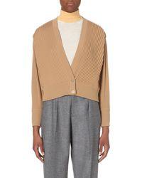 Loewe - Natural Pleated Wool Cardigan, Women's, Size: L, Beige - Lyst
