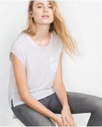 Zara | White Linen T-shirt | Lyst