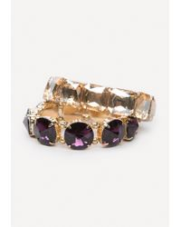 Bebe - Metallic Large Crystal Bracelet Set - Lyst