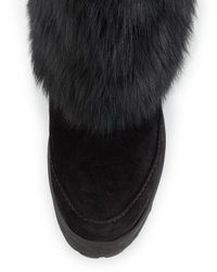 Prada | Black Fold-Over Fur & Suede Winter Boot | Lyst