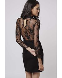 TOPSHOP | Black Beaded Lace Bodycon Dress | Lyst