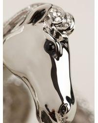 Roberto Cavalli - Metallic Horse Detail Embellished Cuff - Lyst