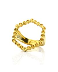 Lestie Lee - Metallic Hexagon Halo Ring Citrines - Lyst