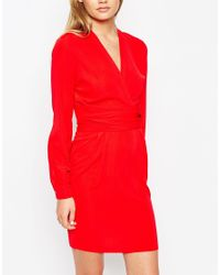 ASOS | Red Tulip Dress With Wrap Belt | Lyst