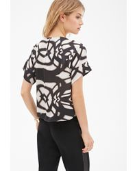 Forever 21 - Black Contemporary Abstract Shadow Print Blouse - Lyst