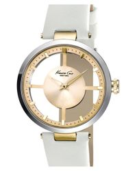 Kenneth Cole - Metallic Cutout Dial Leather Strap Watch - Lyst