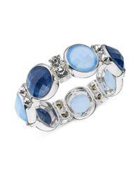 Anne Klein | Silvertone Blue Cabochon Stretch Bracelet | Lyst