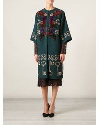 Dolce & Gabbana - Green Floral Embroidered Cape Coat - Lyst