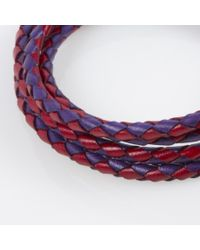 Paul Smith - Men's Purple And Red Leather Wrap Bracelet for Men - Lyst