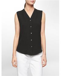 Calvin Klein | Black White Label Textured Semi Sheer Sleeveless Top | Lyst