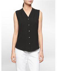 Calvin Klein - Black White Label Textured Semi Sheer Sleeveless Top - Lyst