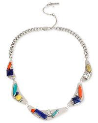 Kenneth Cole | Multicolor Silver-tone Geometric Faceted Stone Frontal Necklace | Lyst