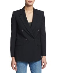 Helmut Lang - Black Double-breasted Wool Blazer - Lyst