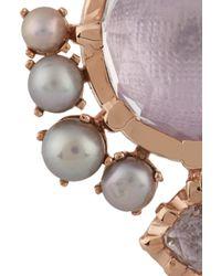 Larkspur & Hawk - Metallic Bella Compass Rose Gold Quartz and Pearl Earrings - Lyst