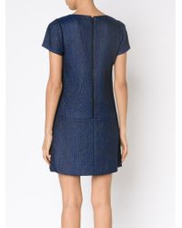 Alice + Olivia - Blue Jacquard Fitted Dress - Lyst