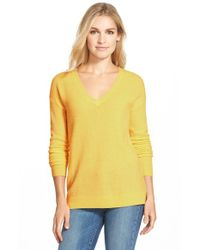 Halogen | Green V-neck Lightweight Cashmere Sweater | Lyst