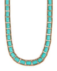 Lucky Brand | Blue Goldtone Turquoise Stone Collar Necklace | Lyst