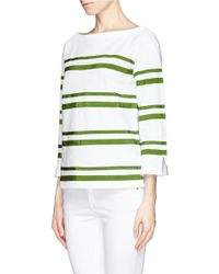Tory Burch - Green Kendall Grosgrain Ribbon Stripe Top - Lyst