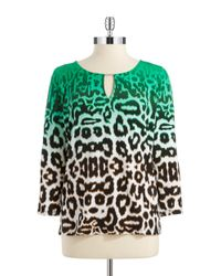 Calvin Klein | Green Animal Print Blouse | Lyst