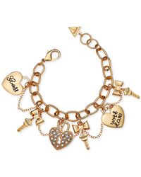 Guess | Metallic Gold-tone Crystal Charm Gifting Bracelet | Lyst