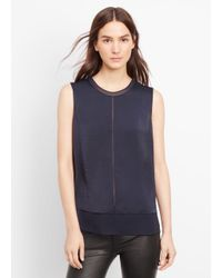 Vince - Blue Sleeveless Mixed Media Overlay Blouse - Lyst