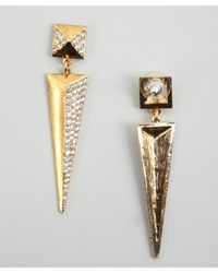 R.j. Graziano - Metallic Gold And Crystal Pyramid Stud Drop Earrings - Lyst