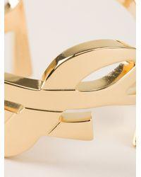 Saint Laurent - Metallic Monogram Ring - Lyst