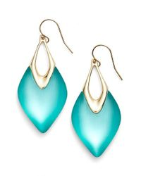 Alexis Bittar | Blue 'lucite' Drop Earrings - Aqua/ Gold | Lyst