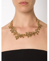 Oscar de la Renta - Metallic Foliage Motif Necklace - Lyst