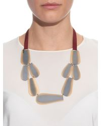 Zeus + Dione | Metallic Bronze Leaf Silk Necklace | Lyst