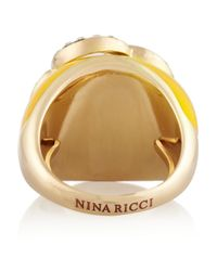 Nina Ricci - Yellow Goldtone Resin and Crystal Ring - Lyst