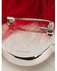 Fendi - Red Crystal And Fox Fur Brooch - Lyst